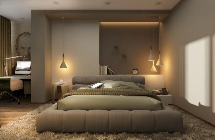 diseño dormitorio moderno color marron