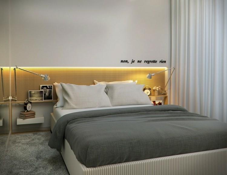 dormitorio moderno luces amarillas cabecero