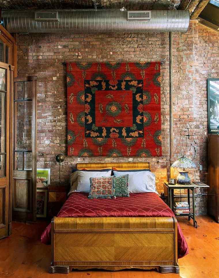 dormitorios opciones pared ladrillo alfombra pared ideas