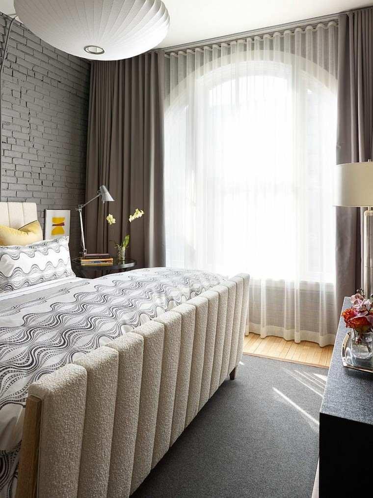 dormitorios opciones pared ladrillo color oscuro ideas