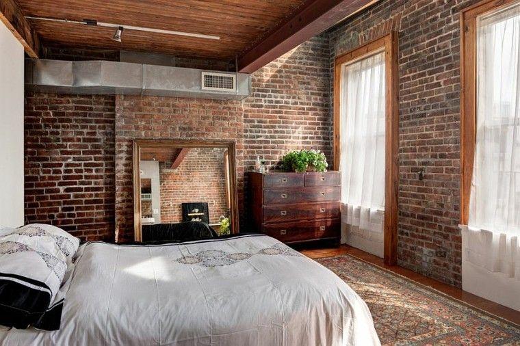 dormitorios opciones pared ladrillo comoda ideas