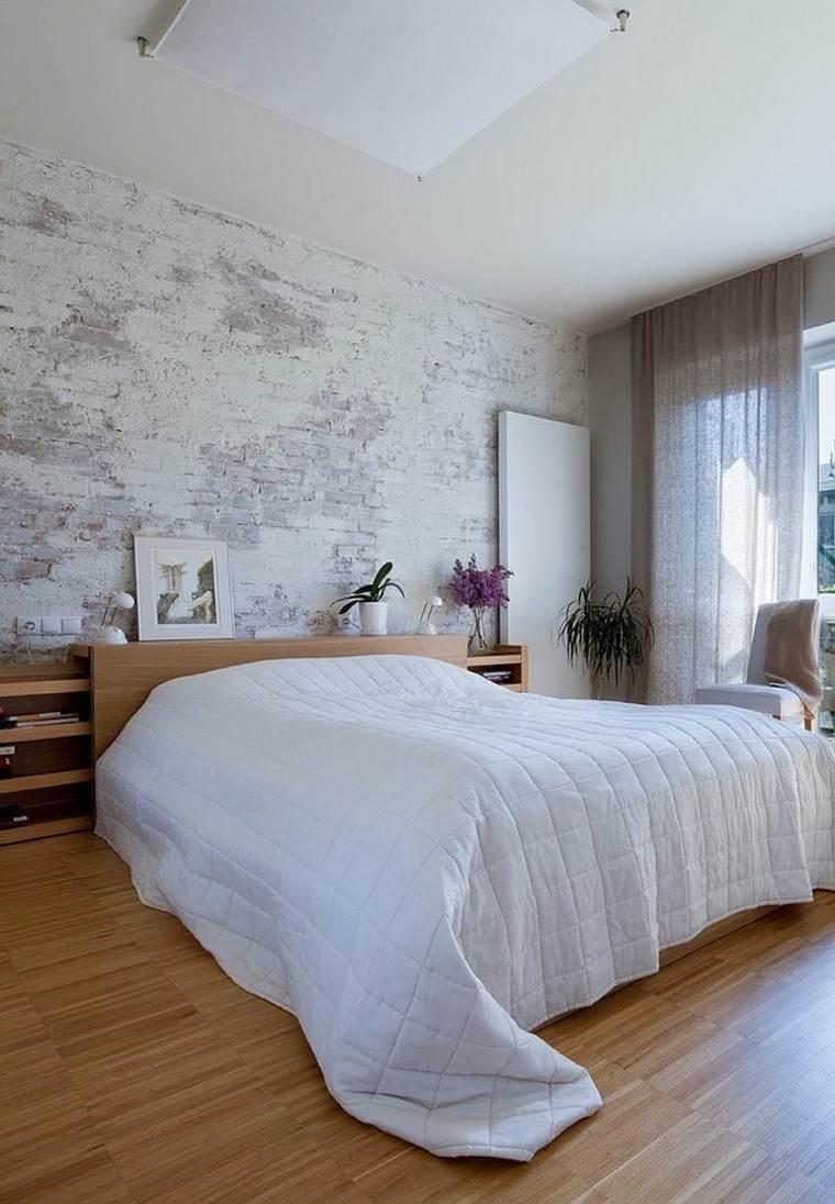 dormitorios opciones pared ladrillo cama madera ideas