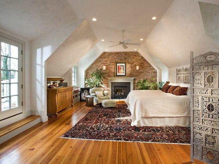 dormitorio pared ladrillo espacioso alfombra vintage ideas