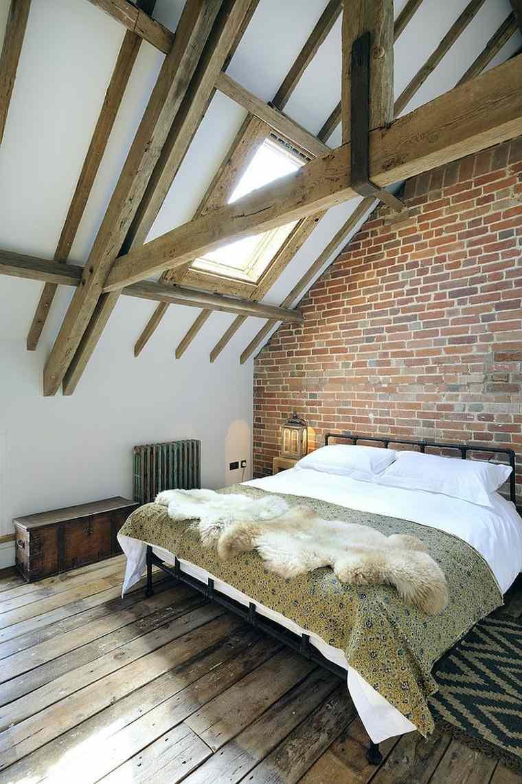 dormitorio pared ladrillo techo abovedado ideas