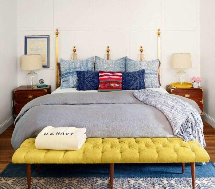 dormitorio precioso banco amarillo llamativo ideas