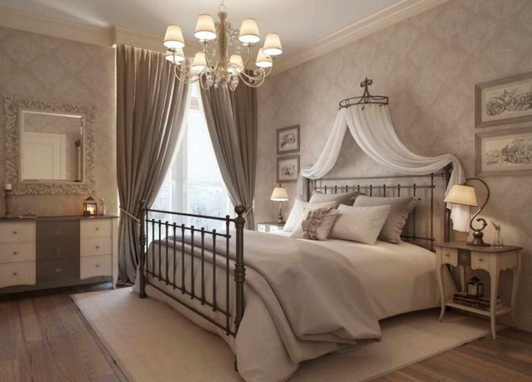 dormitorio estilo retro color gris