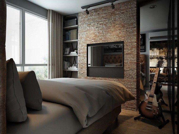 dormitorio opciones pared ladrillo televisor ideas