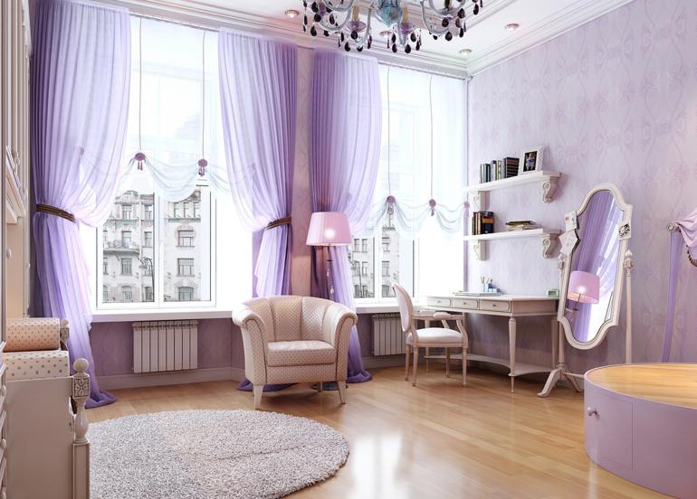 dormitorio retro color lavanda