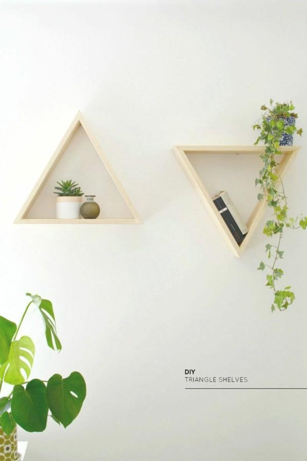 dos triangulos estantes modernos madera