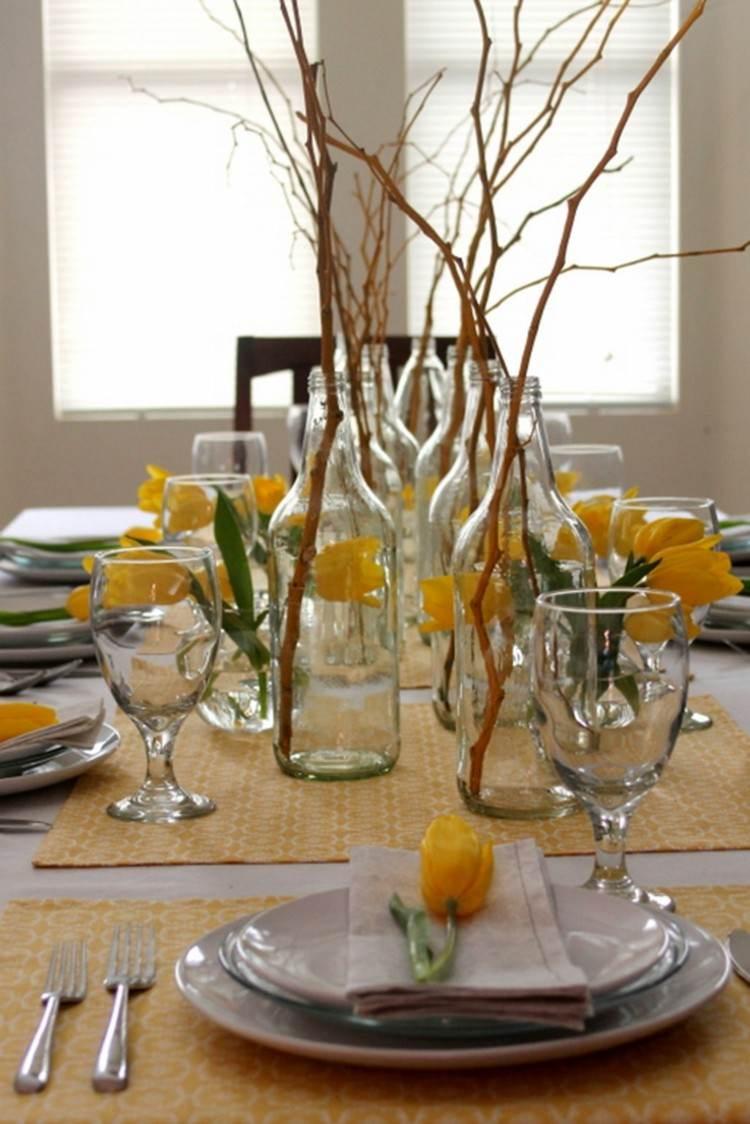 elegantes estilos flores casa botellas amarillo