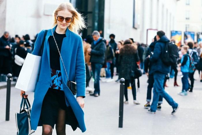 endencias invierno 2015 abrigo largo azul ideas