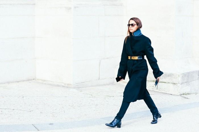 ropa invierno 2015 abrigo negro largo cintruron ideas