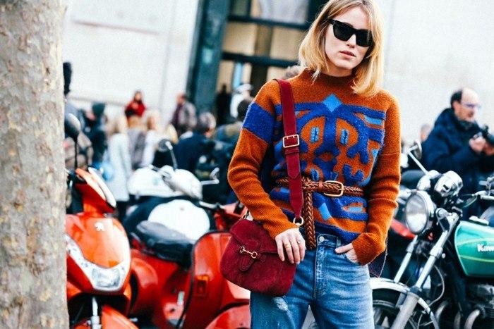 endencias invierno 2015 jersey naranja azul ideas