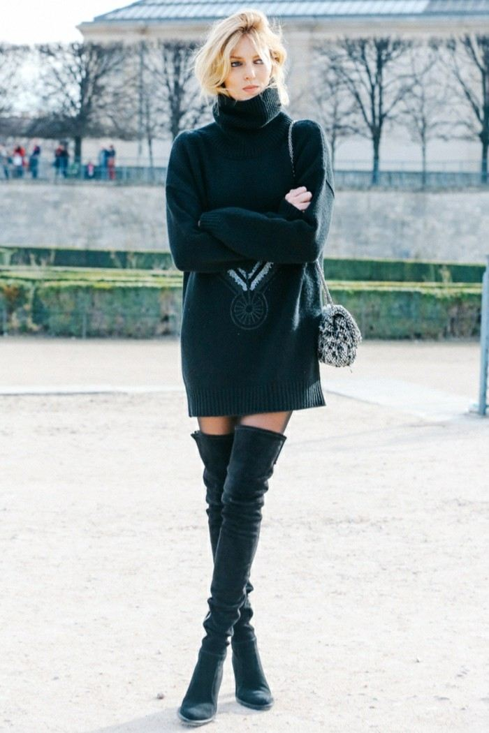 invierno 2015 jersey negro largo botas altas ideas