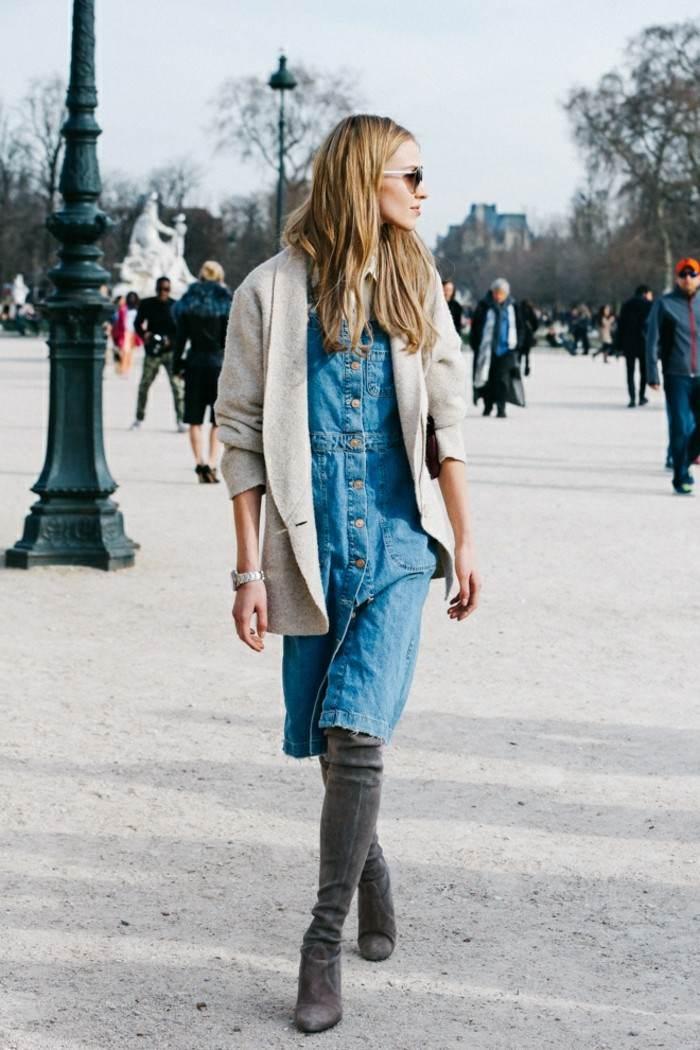 ropa invierno 2015 vestido denim ideas