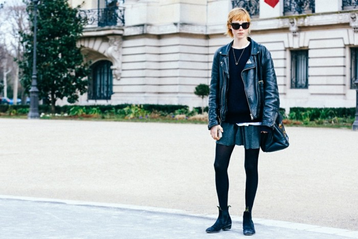 ropa invierno 2015 chaqueta cuero negro ideas