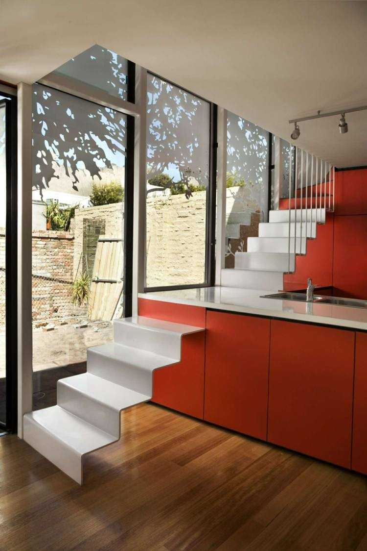 escalera naranja blanco ideas madera