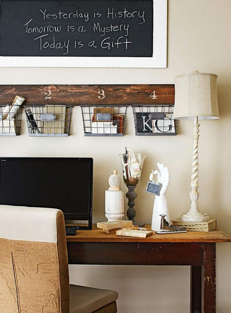 escritorio vintage madera cestos pared ideas