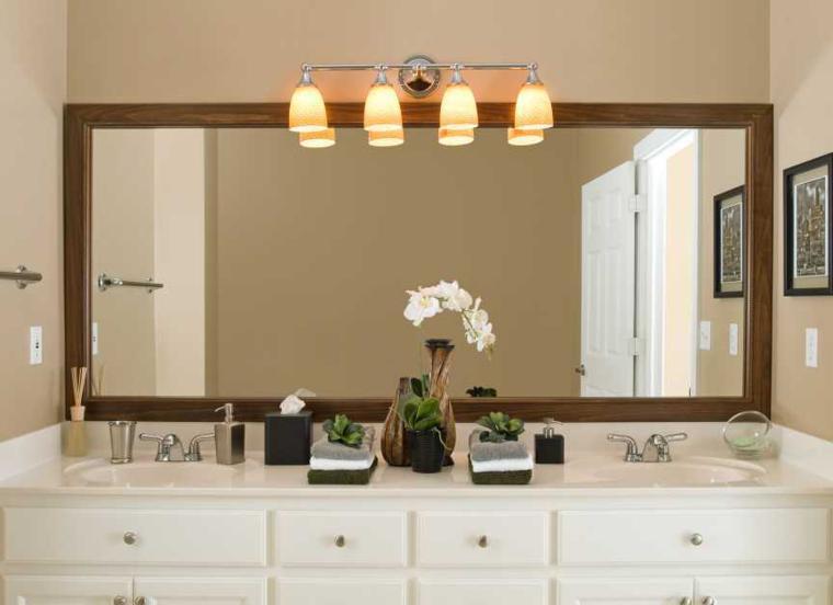Espejos para ba os los 38 modelos m s modernos for Espejo rectangular con marco de madera