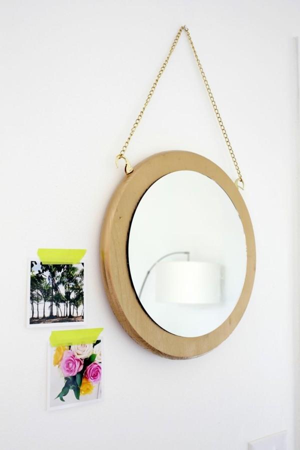 espejo colgante redondo madera