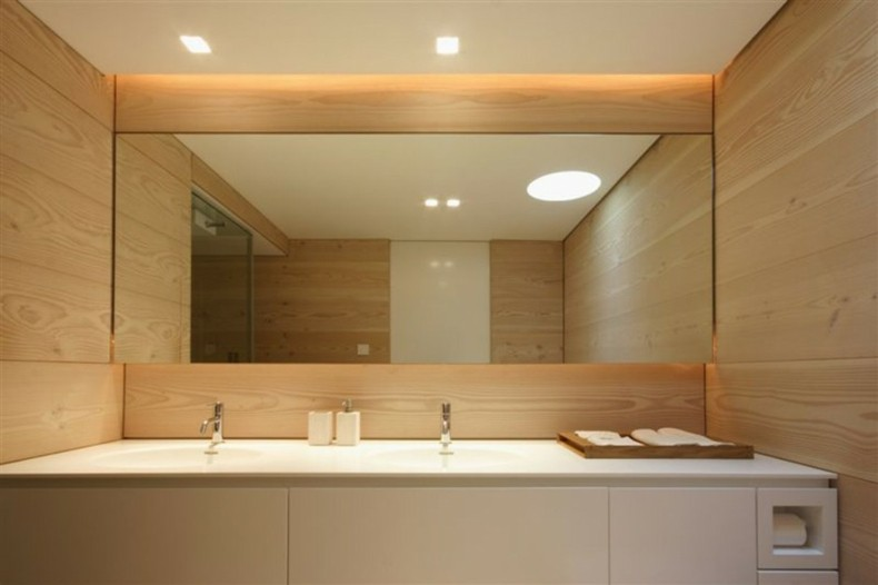 espejo baño estilo moderno madera