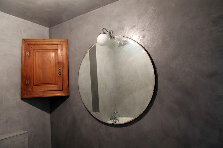 espejo baño paredes microcemento