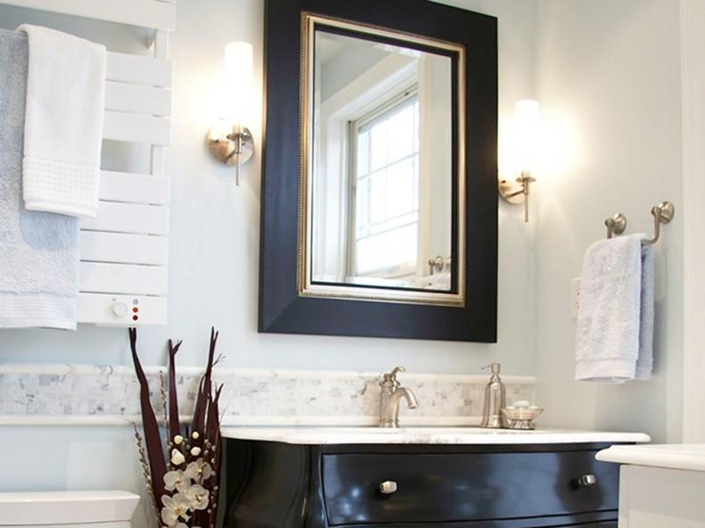 espejo marco negro dorado retro