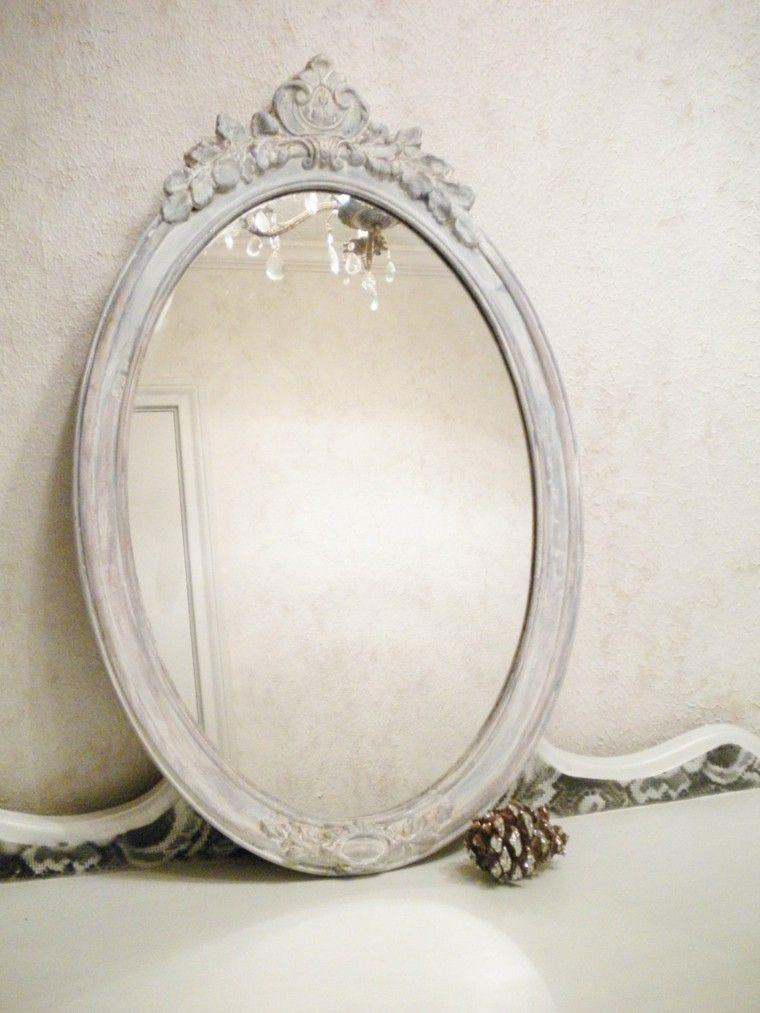 espejo ovalado blanco piña pino