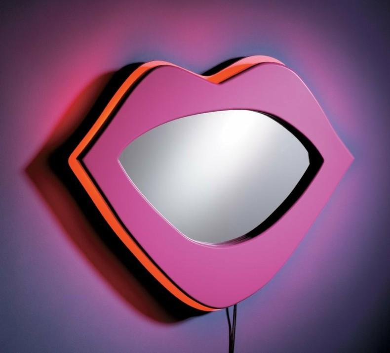 espejo rosa forma deco labios