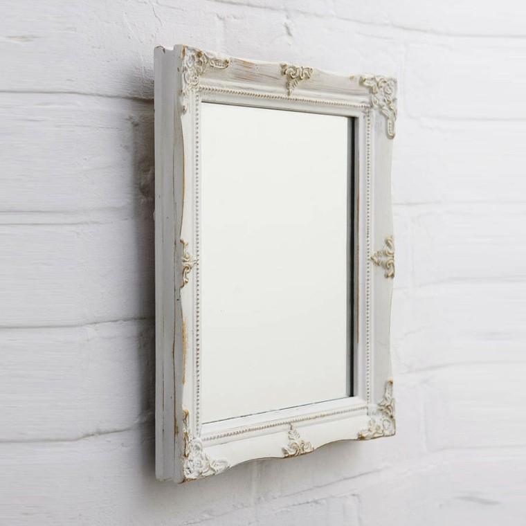 espejo retro cuadrado blanco