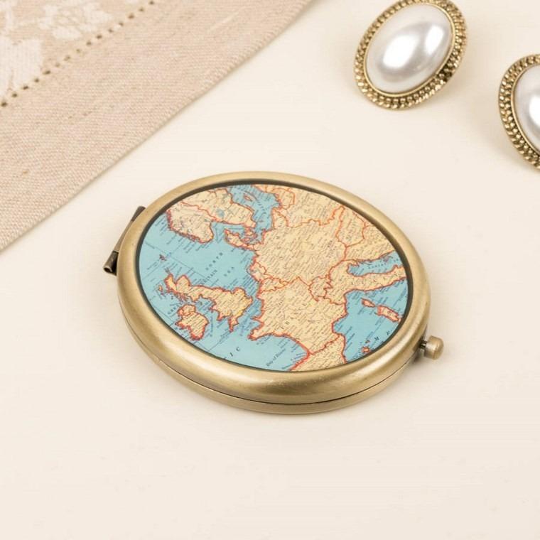 espejo vintage compacto mapa mundo ideas