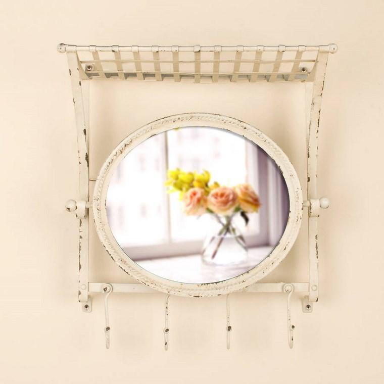 espejos vintage estanteria pared acero ideas