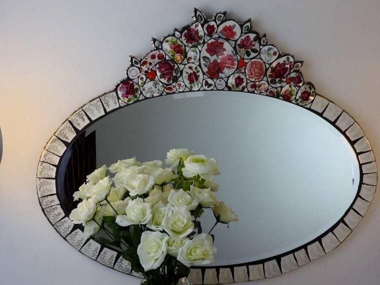 espejo vintage ornamentos florales ideas