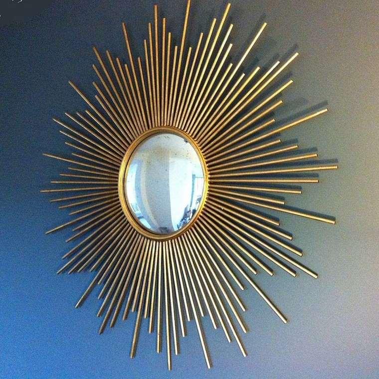 espejo vintage oro rayos sol pared ideas