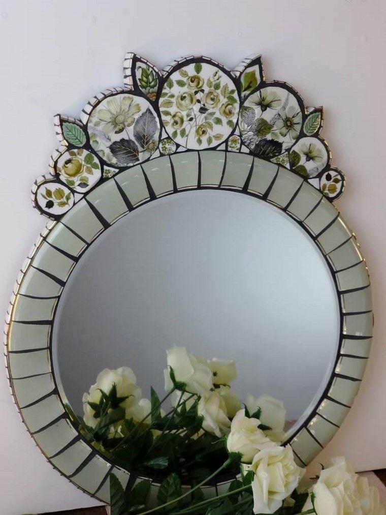 espejo vintage verde ornamentos originales ideas