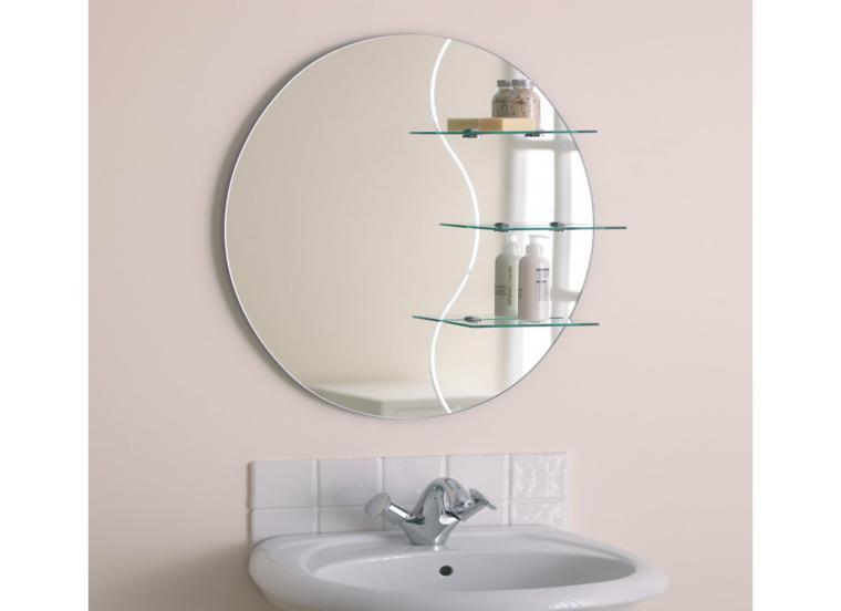 diseño espejo redondo estantes