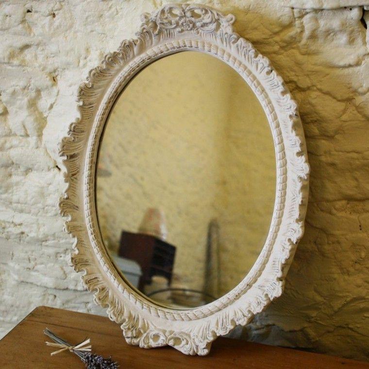 espejo retro marco blanco