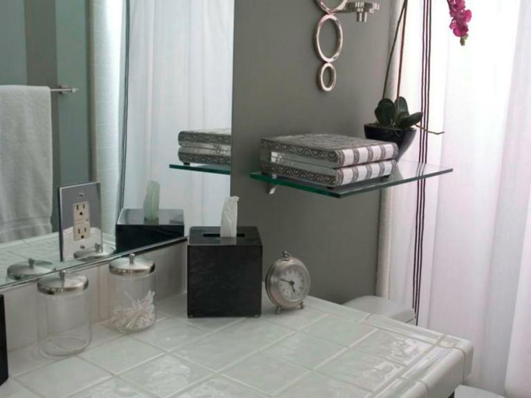 Estantes Metalicos Para Baño:estante de baño de vidrio