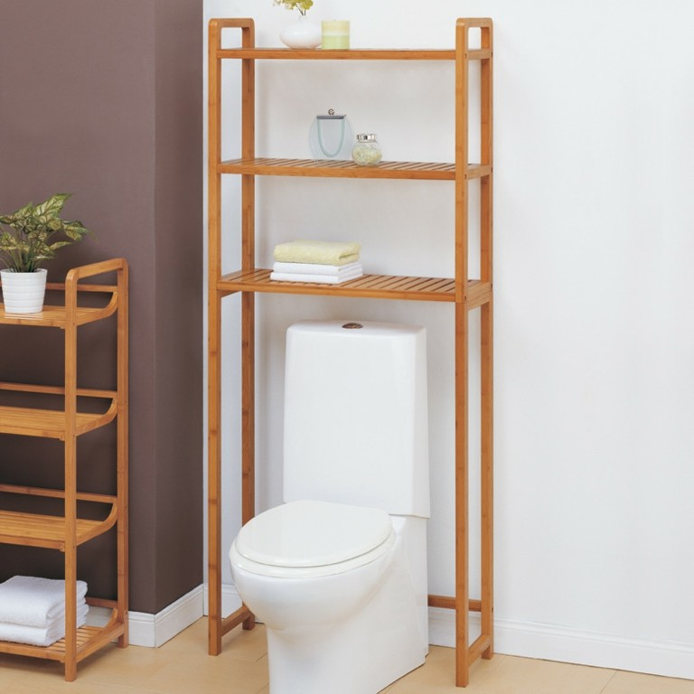 estantes de madera para el ba o