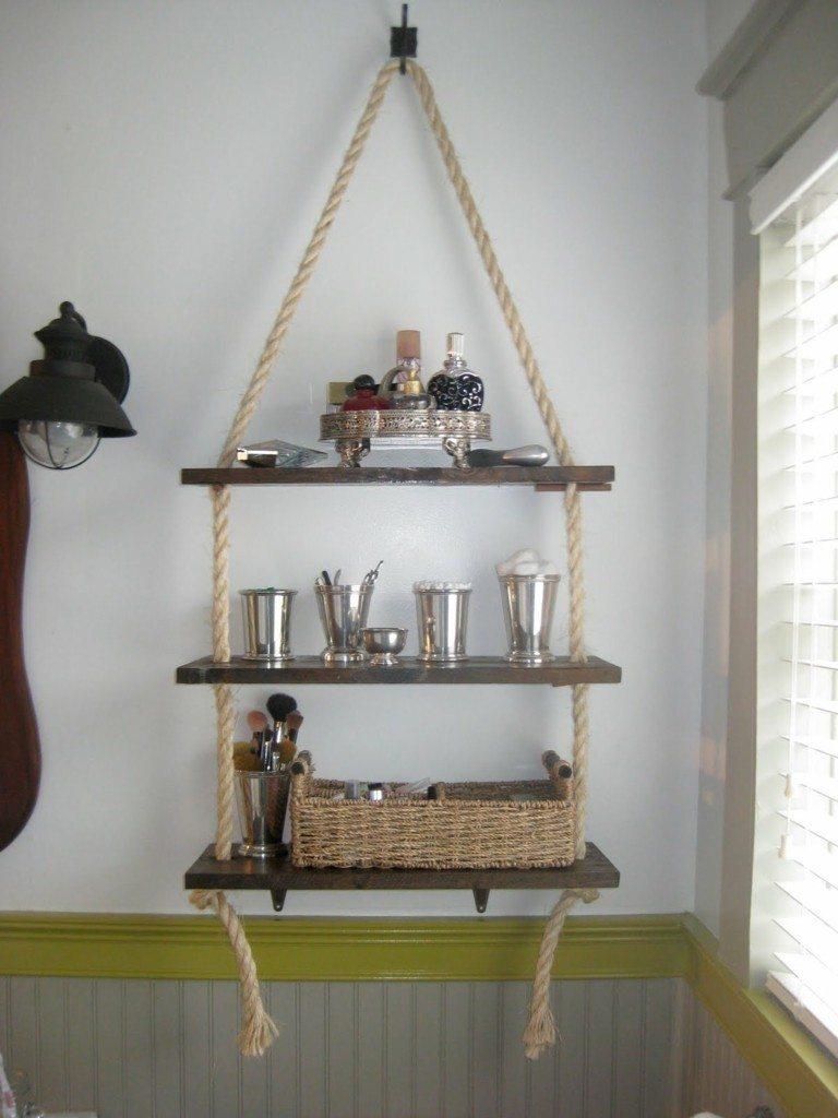 estanterias para baños cuerdas madera