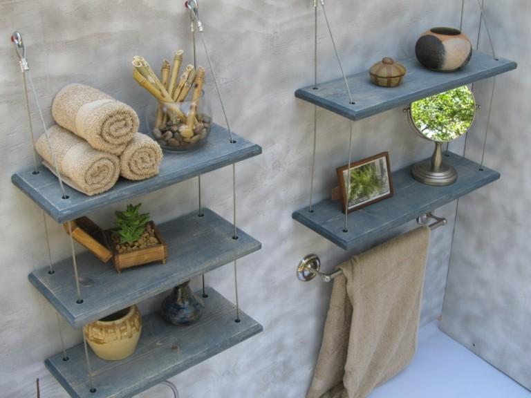 Estantes Metalicos Para Baño:Estantes de baño colgantes de color azul