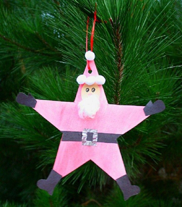 manualidades de navidad para niños estrella forma papa noel cartulina