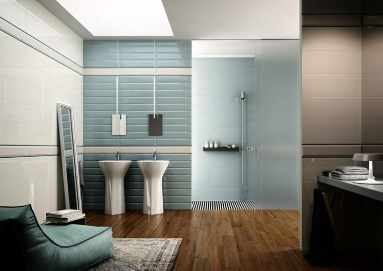azulejos baño modernos celeste