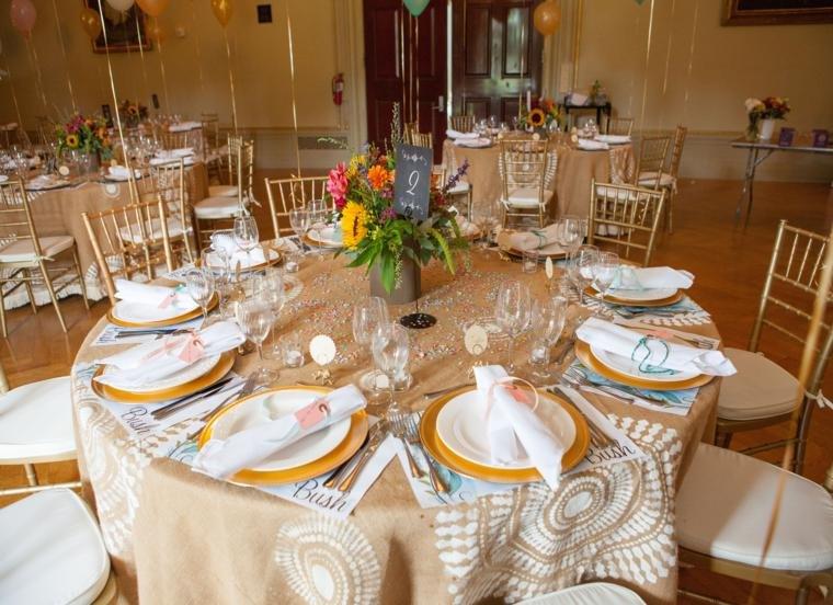 mesa banquete mantel cáñamo