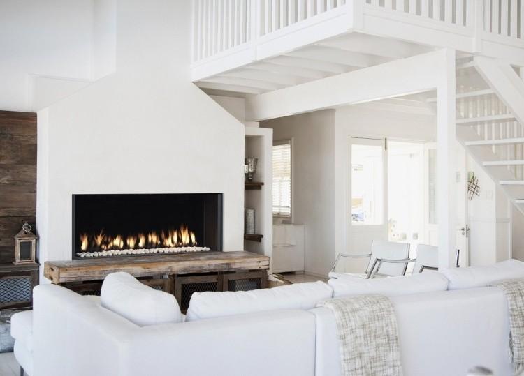 estupendo diseo muro blanco chimeneas