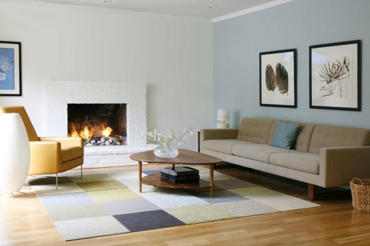 bonito diseño salon chimenea