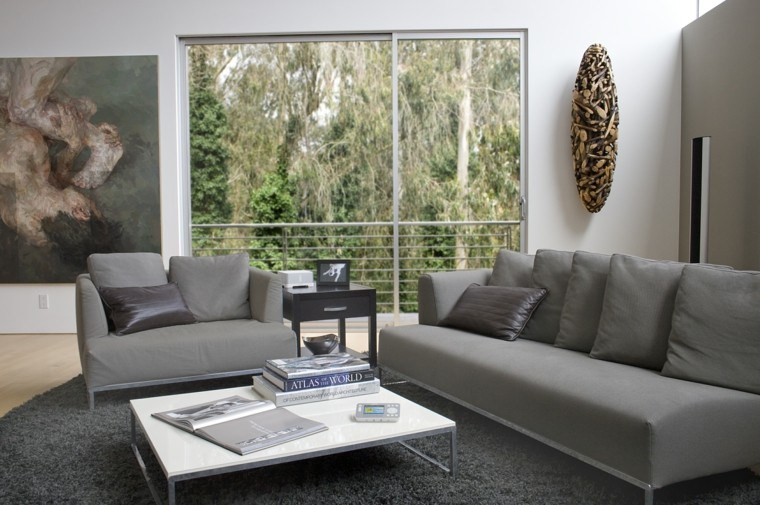 estupendo salon sofas grises