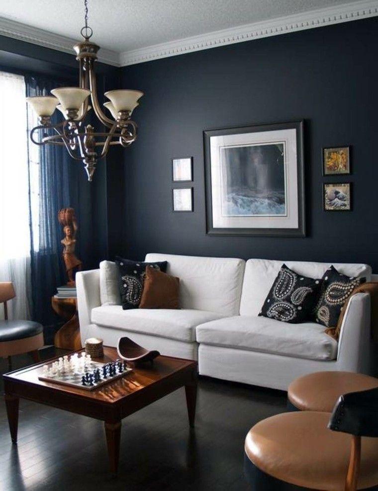 estupendo salon pared color añil
