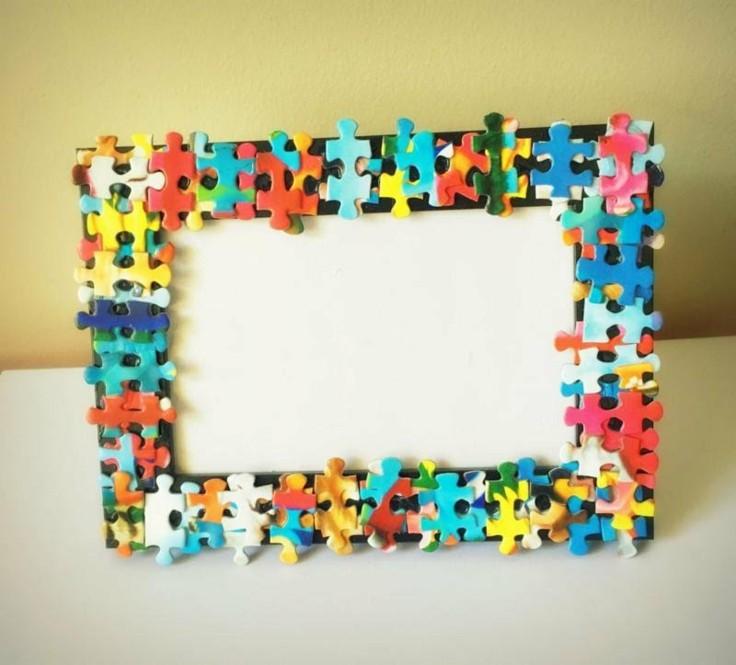 estupendo marco fotos puzle colores