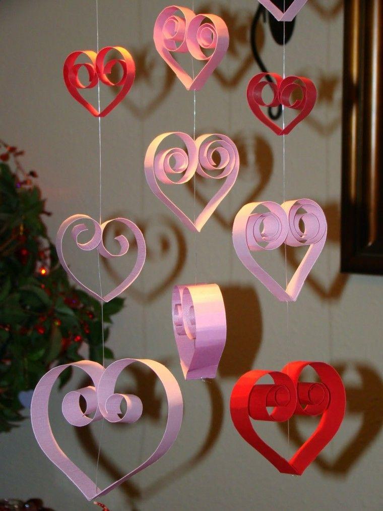 estupendos corazones colgantes cartulina colores